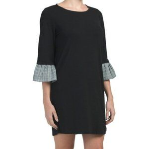 Pleione Black Plaid Ruffle Sleeve Knit Shirt Dress